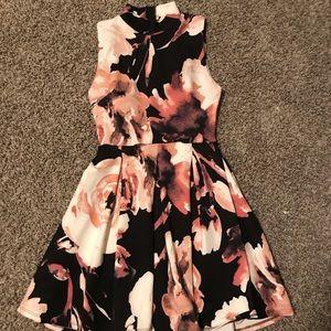 Black and Pink floral high-neck dress